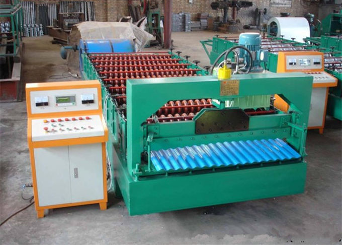 Industrial Metal Roof Panel Machine , Blue Color Roofing Sheet Forming Machine